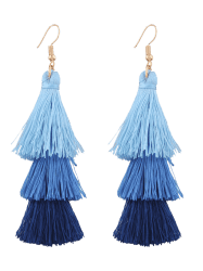 Layered Tassel Drop Hook Earrings -