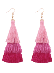 Layered Tassel Drop Hook Earrings