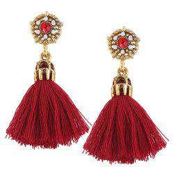 Rhinestone Alloy Flower Tassel Earrings