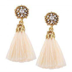 Rhinestone Alloy Flower Tassel Earrings - BEIGE