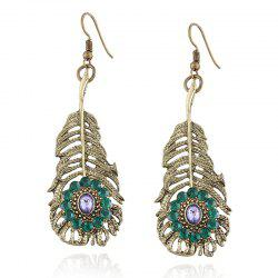 Artificial Crystal Alloy Feather Hook Earrings