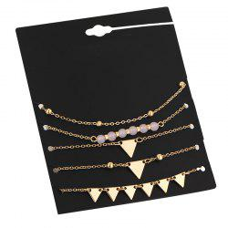 Beaded Triangle Chain Ankle Set