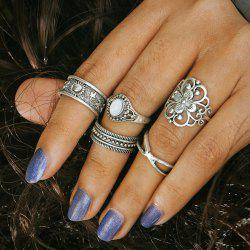 Engraved Faux Opal Flower Ring Set - SILVER