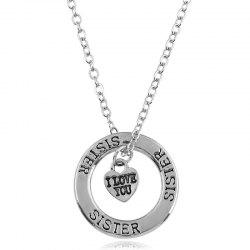 Heart Engraved Sister I Love You Necklace -