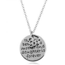 Footprint Engraved Mother Daughter Forever Necklace