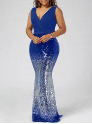 Plus Size Sequins Fishtail Party Maxi Dress - Blue - 5xl