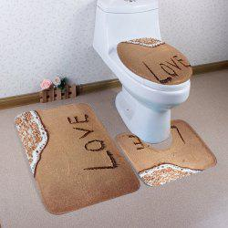 3Pcs Coral Fleece  Beach Love Bathroom Mat Set