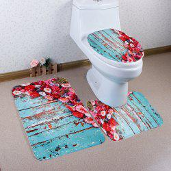 3Pcs Floral Plank Coral Fleece Bath Mat Set
