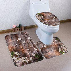Soft Absorbent 3PCS Retro Plank Bath Mat Set
