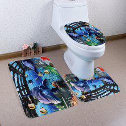 Coral Fleece Ocean World 3Pcs Bathroom Mat Set - BLUE