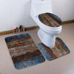 Non Slip Vintage Plank 3PCS Mat Set For Bathroom