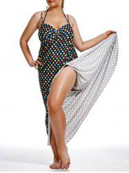 Long Polka Dot Maxi Wrap Cover Up Dress
