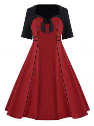 Bowknot Embellished Plus Size Midi Pin Up Dress