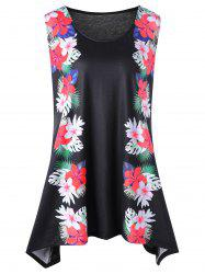 Tropical Flower Plus Size Tunic Tank Top