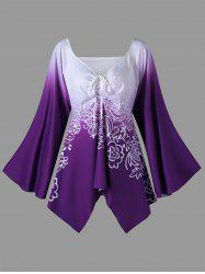 Plus Size Long Flared Sleeve Flower T-Shirt - Purple - Xl