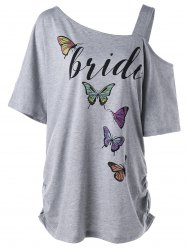 Butterfly Print Cold Shoulder Plus Size Blouse