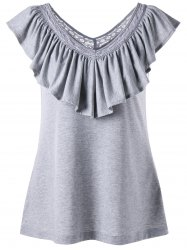 Ruched Ruffles V Neck Tank Top - LIGHT GRAY