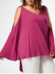 Batwing Sleeve Plus Size High Low Top