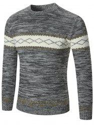 Space Dyed Rhombus Pattern Crew Neck Sweater