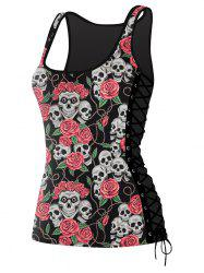 Lace Up Skulls Floral 3D Printed Tank Top - COLORMIX L