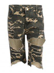 Camo Distressed Knee Length Shorts - Camouflage ACU S