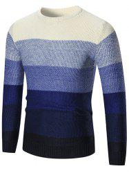 Ombre Crew Neck Pullover Sweater - BLUE