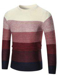 Ombre Crew Neck Pullover Sweater - RED 2XL