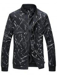Slim Fit Print Stand Collar Jacket