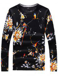 Long Sleeve 3D Flowers and Birds Print Sweater - BLACK M