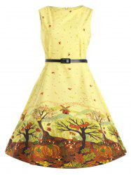 Plus Size Tree Printed Retro Flare Dress with Belt