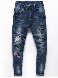 Letters Embroideried Ripped Ninth Jeans