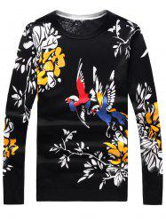 Long Sleeve 3D Birds and Floral Print Sweater