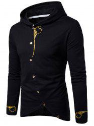 Long Sleeve Oblique Buttons Design Embroidered T-shirt - BLACK