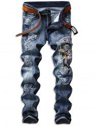 Eagle Embroideried Ripped Jeans