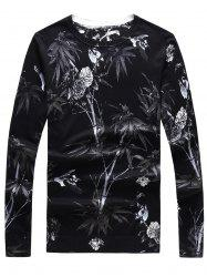 3D Flower Print Crew Neck Long Sleeve Sweater