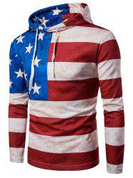 Long Sleeve Distressed American Flag Print Hoodie - COLORMIX