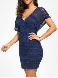 Plunging Neckline Lace Mini Bodycon Dress