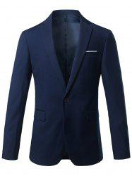 One Button Lapel Casual Blazer - CADETBLUE