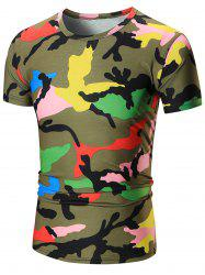 Colorful Short Sleeve Camouflage Tee - GREEN 3XL