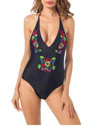 Embroidered Open Back One Piece Swimsuit