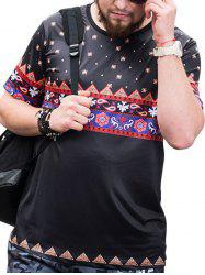 Tribal Pattern Short Sleeves Plus Size T-shirt