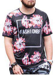 Flowers Graphic Pattern Short Sleeves Plus Size T-shirt