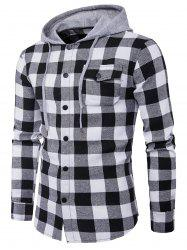 Hooded Panel Long Sleeve Pocket Tartan Shirt - BLACK WHITE