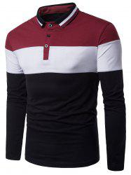 Color Block Panel Design Rib Polo Collar T-shirt