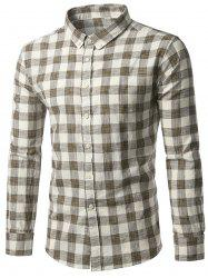 Button-Down Long Sleeve Plaid Shirt - COFFEE 2XL