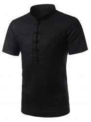 Mandarin Collar Short Sleeve Shirt - BLACK