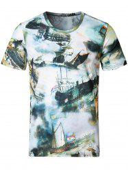 Short Sleeve Sailing Ship Print Tee - COLORMIX M