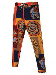 Tribal Print Drawstring Patchwork Pants