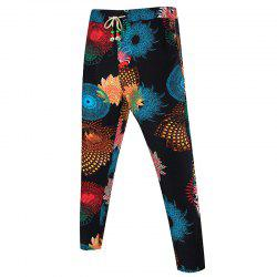 Drawstring Waist Kaleidoscope Print Pocket Pants