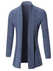 Open Front Shawl Collar Heathered Cardigan - BLUE 2XL